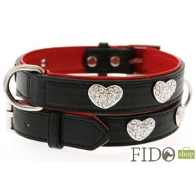 Urban Pup Collare Fashion Nero Cuori Glitter