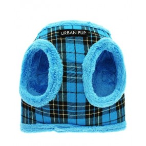 URBAN PUP PETTORINA INVERNALE REGISTRABILE - Luxury Fur Lined Blue Tartan Harness